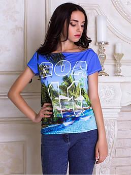 Женская футболка с широкой горловиной с принтом Гоа
