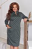 Платье женское большого размера, размер 56, ( 52, 54, 56, 58 ) платье весна-осень, цвет бутылочный в горох, фото 2