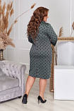 Платье женское большого размера, размер 56, ( 52, 54, 56, 58 ) платье весна-осень, цвет бутылочный в горох, фото 3