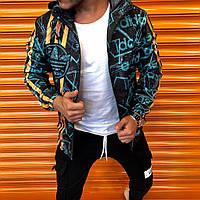 Мужская ветровка Адидас с капюшоном, мужские ветровки стильные молодежные, куртка легкая черная Турция осень