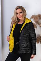 Женская осенняя куртка двусторонняя плащевка + силикон 100 размер: 48, 50, 52, 54