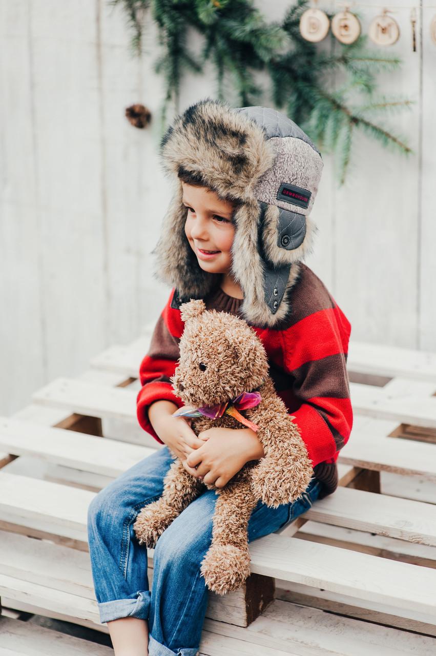Детская шапка зимняя для мальчиков МУРАТ  оптом размер 50-52-54
