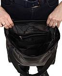 Вместительная женская черная сумка шоппер с большим карманом на молнии и двумя ручками матовая эко-кожа, фото 8
