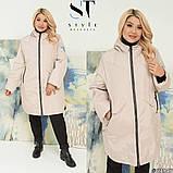 Женская демисезонная куртка прямого кроя плащёвка плотная утеплитель синтепон 80 батальные размеры:от 52 до 62, фото 4