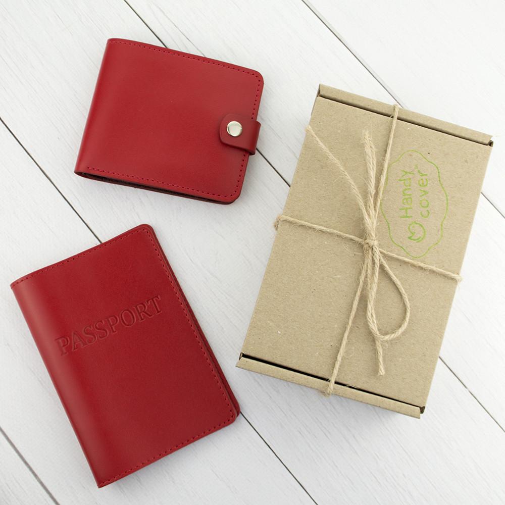 Подарунковий набір №1: обкладинка на паспорт + портмоне П1 (червоний)