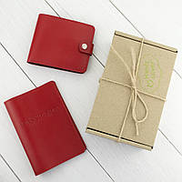 Подарунковий набір №1: обкладинка на паспорт + портмоне П1 (червоний), фото 1