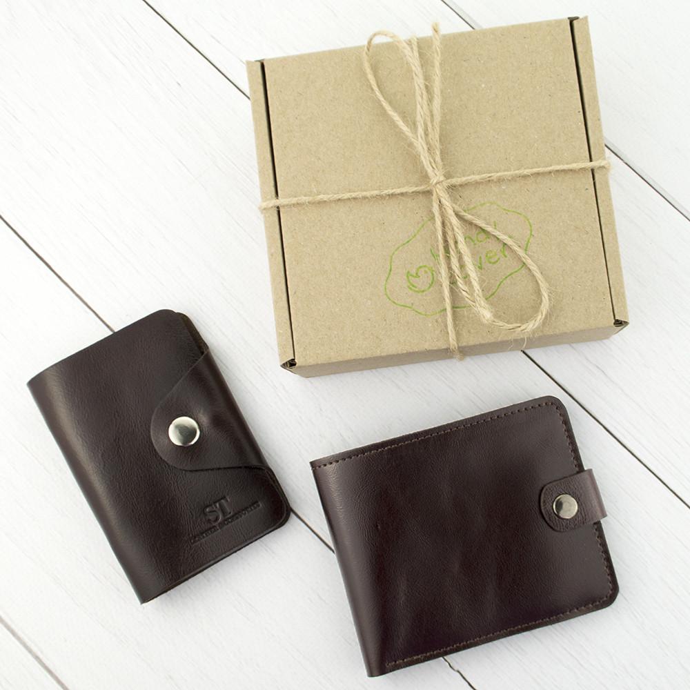 Подарочный набор №3: портмоне П1 + картхолдер (коричневый)