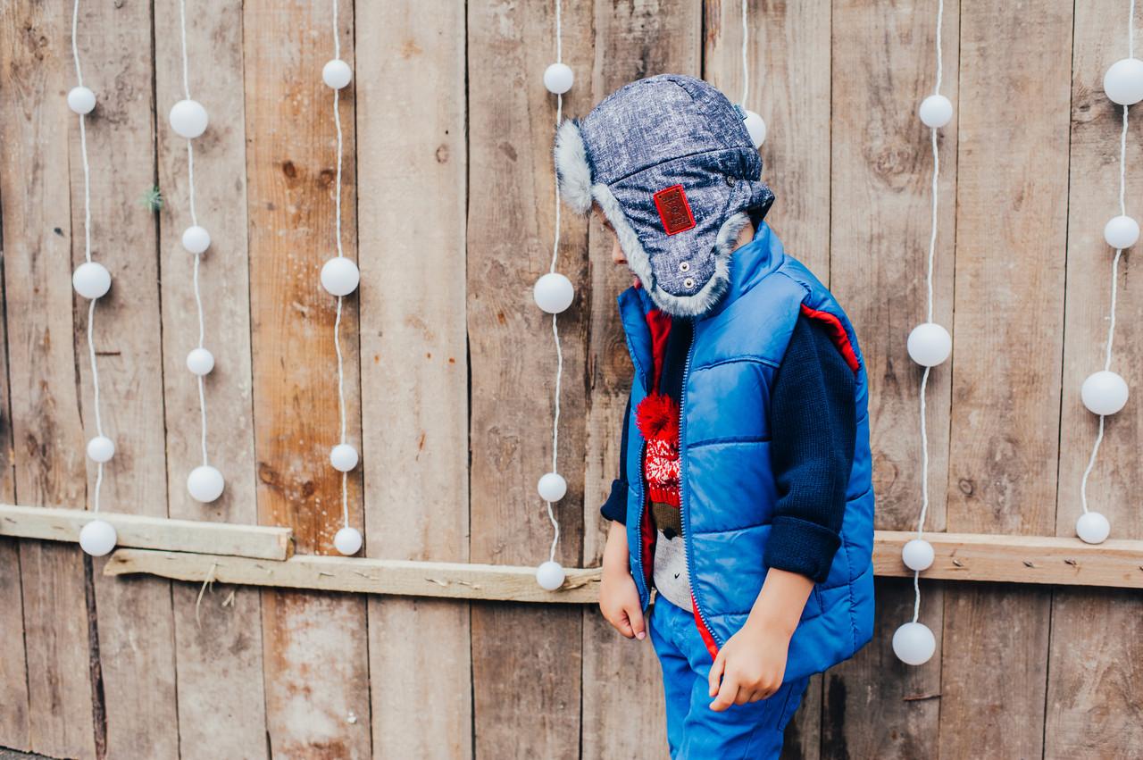 Детская шапка зимняя для мальчиков СВИФТ (джинсовый) оптом размер 50-52-54