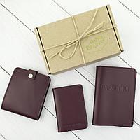 Подарочный набор №5: обложка на паспорт + обложка на документы + портмоне П1 (бордовый), фото 1