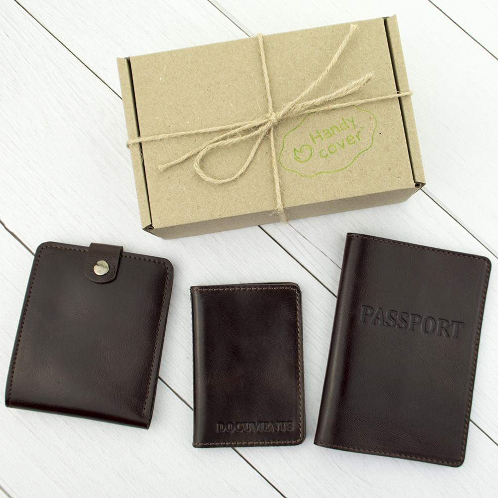 Подарочный набор №5: обложка на паспорт + обложка на документы + портмоне П1 (коричневый)