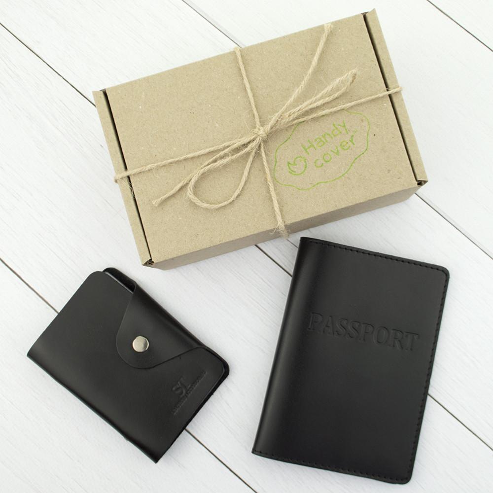 Подарочный набор №6: обложка на паспорт + картхолдер (черный)