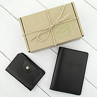 Подарочный набор №6: обложка на паспорт + картхолдер (черный), фото 1