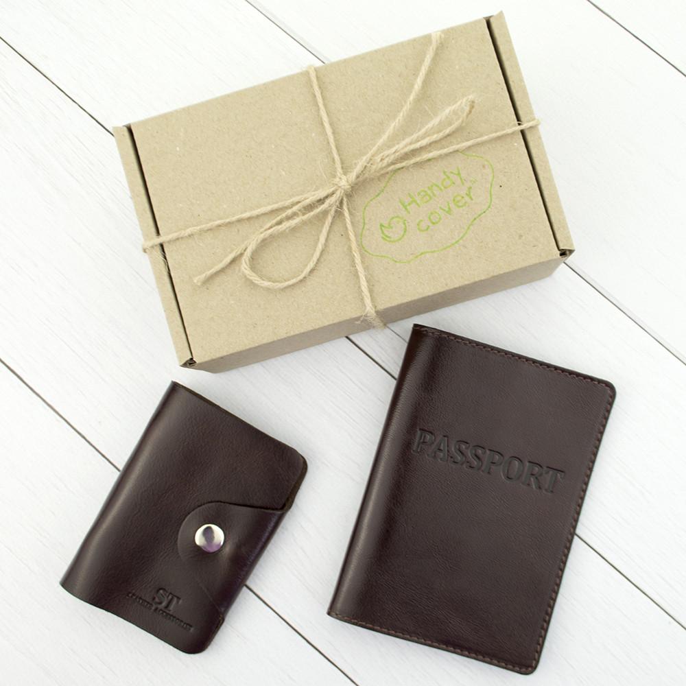 Подарочный набор №6: обложка на паспорт + картхолдер (коричневый)