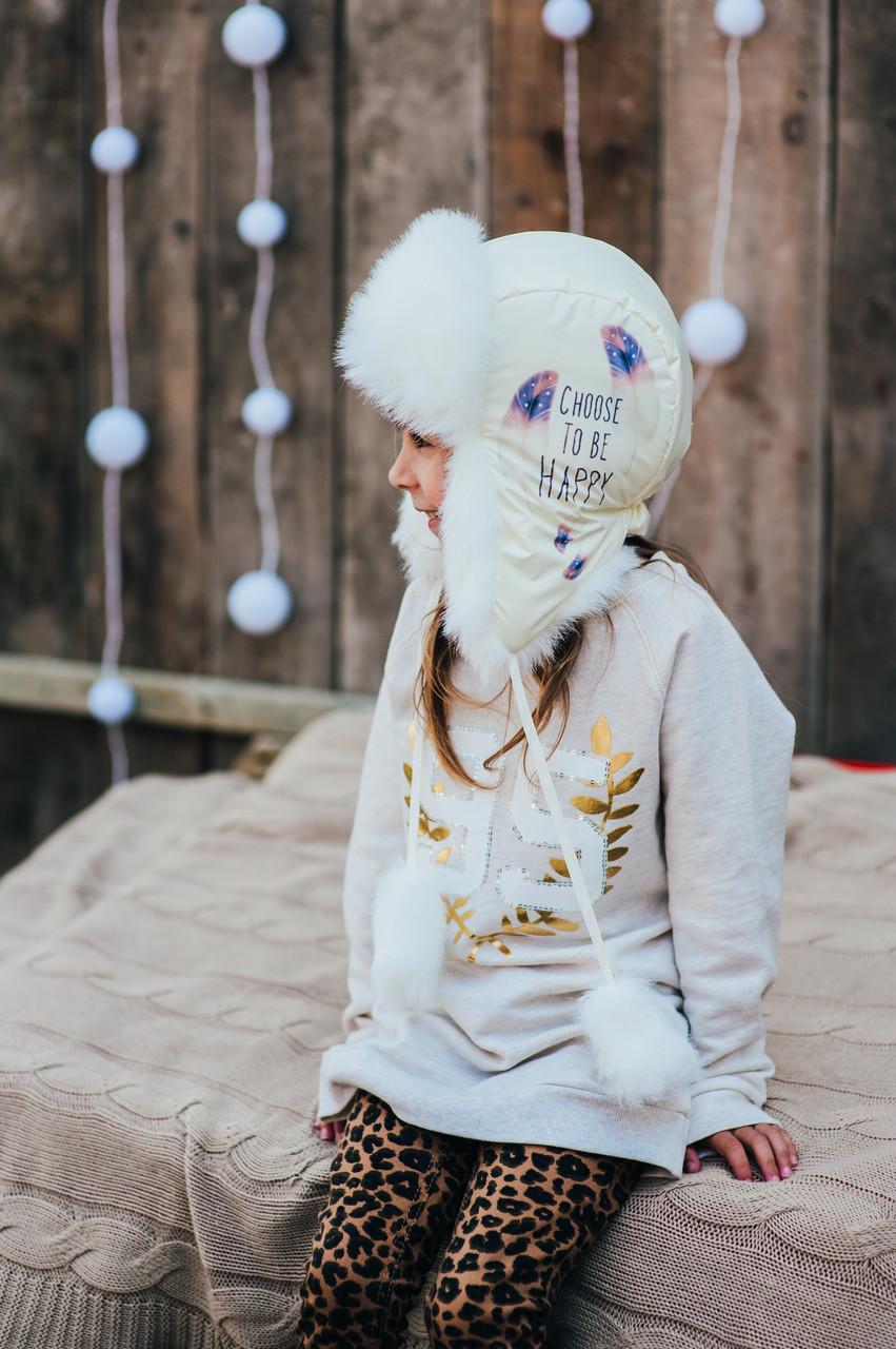 Детская шапка зимняя для девочек ФРЭНСИС (кремовый) оптом размер 50-52-54, фото 1