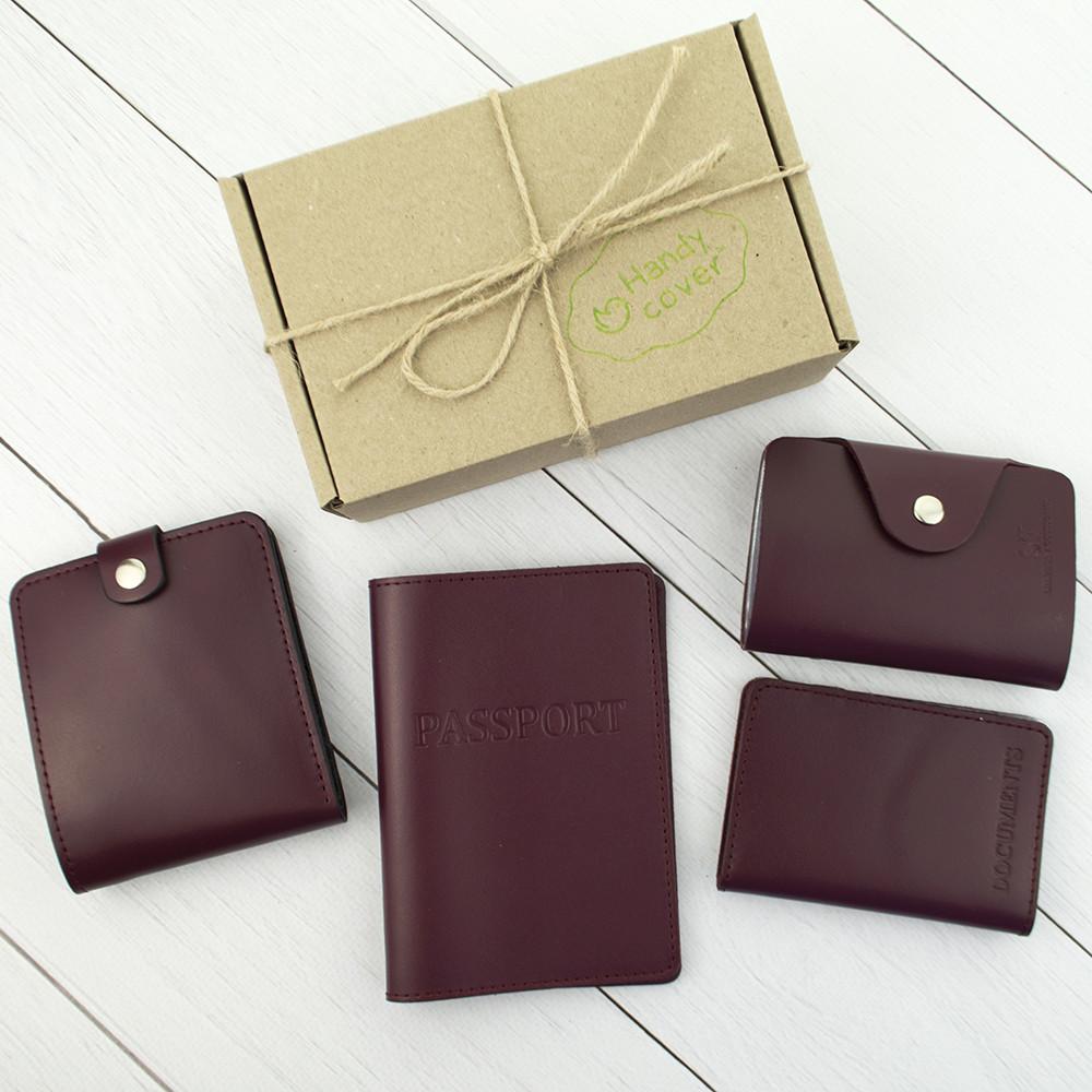 Подарунковий набір №7: обкладинка на паспорт, права + картхолдер + портмоне П1 (бордовий)
