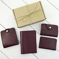 Подарунковий набір №7: обкладинка на паспорт, права + картхолдер + портмоне П1 (бордовий), фото 1
