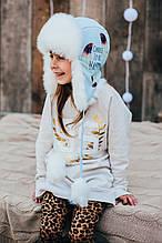 Детская шапка зимняя для девочек ФРЭНСИС (голубой) оптом размер 50-52-54