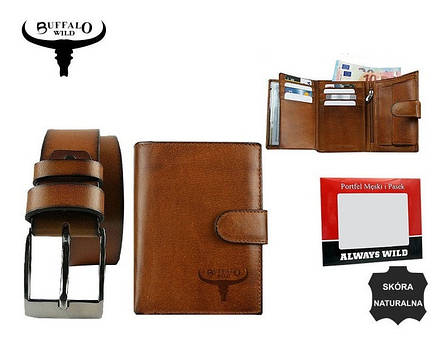 Набор мужской, кошелёк и ремень кожаный  Always Wild Buffalo (PSB-D1072-01-GG) Коричневый, фото 2