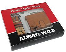 Набор мужской, кошелёк и ремень кожаный  Always Wild Buffalo (PSB-D1072-01-GG) Коричневый, фото 3