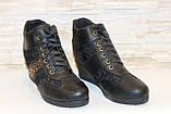 Ботиночки  сникерсы женские черные Д246, фото 3