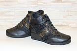 Ботиночки  сникерсы женские черные Д246, фото 4