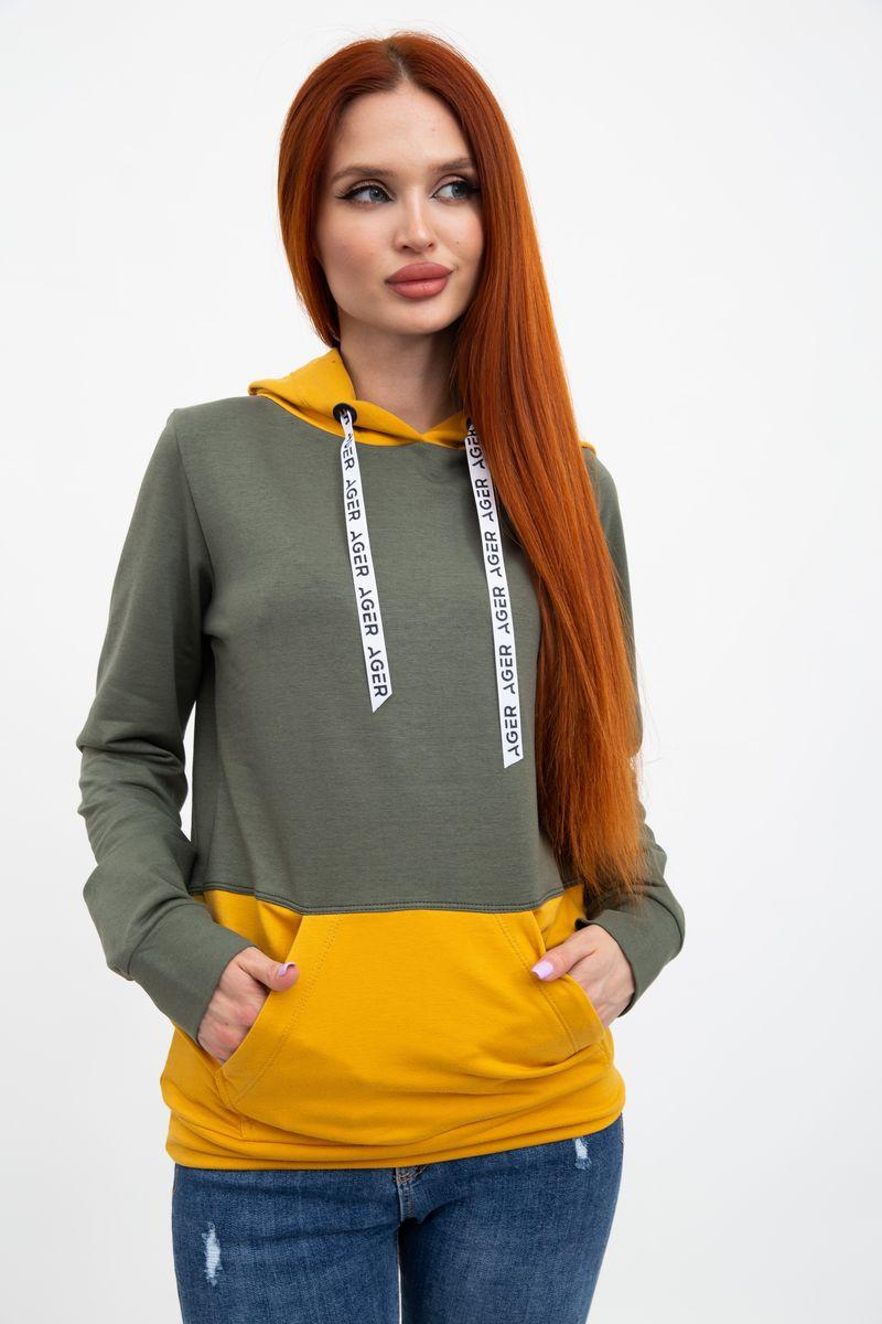 Худи женское 102R051 цвет Хаки-горчичный