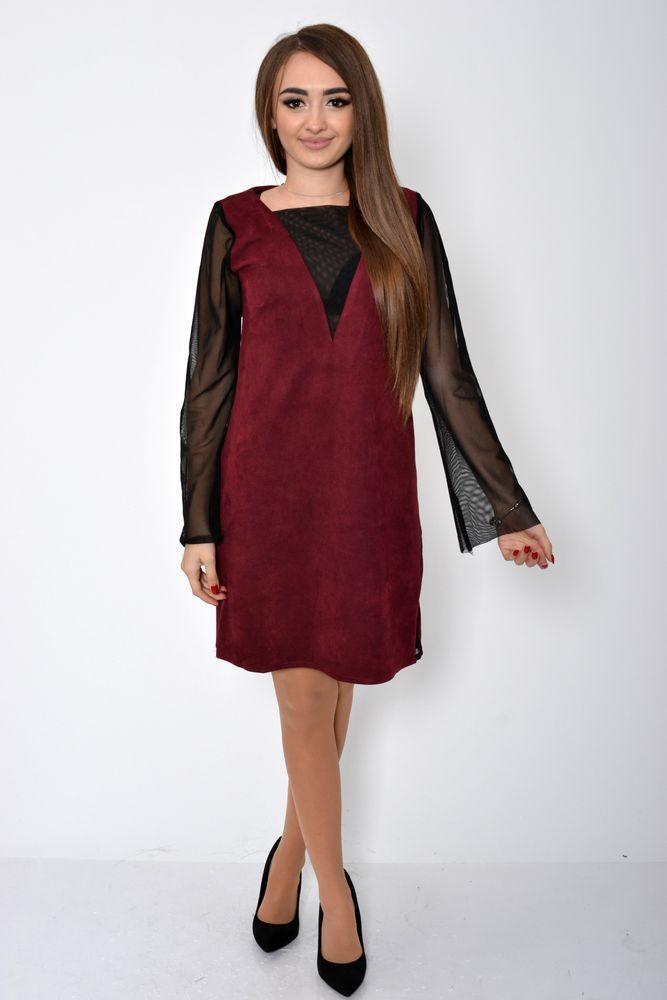 Платье женское 115R356B цвет Бордовый