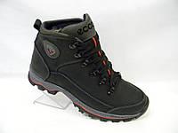 Кожаные мужские зимние ботинки ECCO model № К-4 чёрные с серым