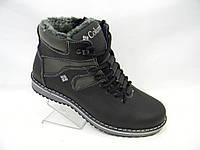 Кожаные мужские зимние ботинки с молнией Columbia model № 333 чёрно-серые
