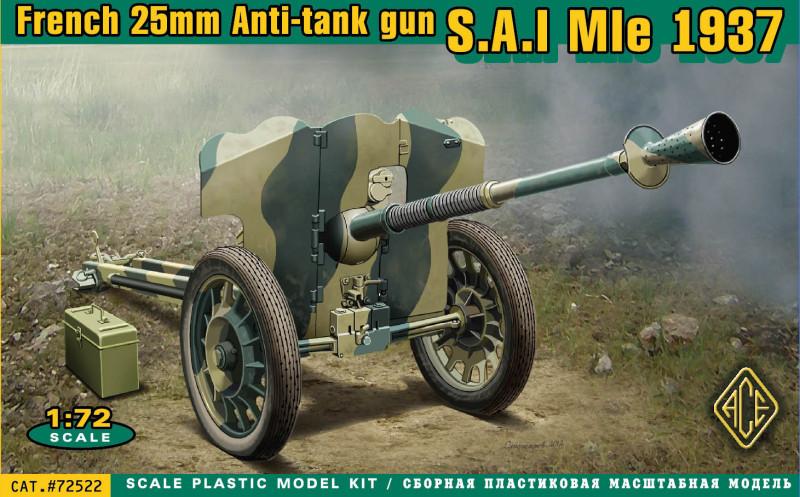 "Сборная модель  ""Французская противотанковая пушка 25 мм SA Mle 1937 """