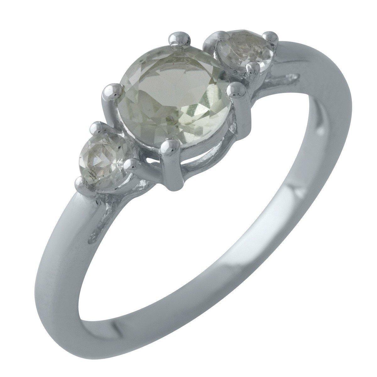 Серебряное кольцо DreamJewelry с натуральным зеленим аметистом (2004424) 18 размер