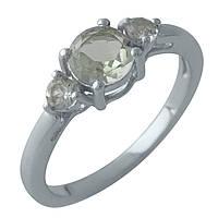 Серебряное кольцо DreamJewelry с натуральным зеленим аметистом (2004424) 18 размер, фото 1