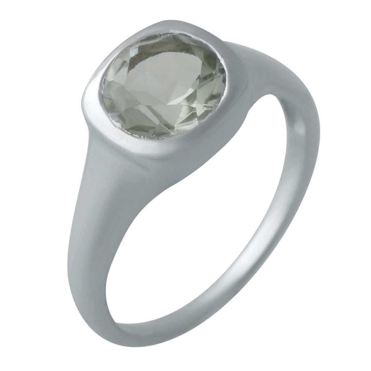 Серебряное кольцо DreamJewelry с натуральным зеленим аметистом (2004530) 18 размер