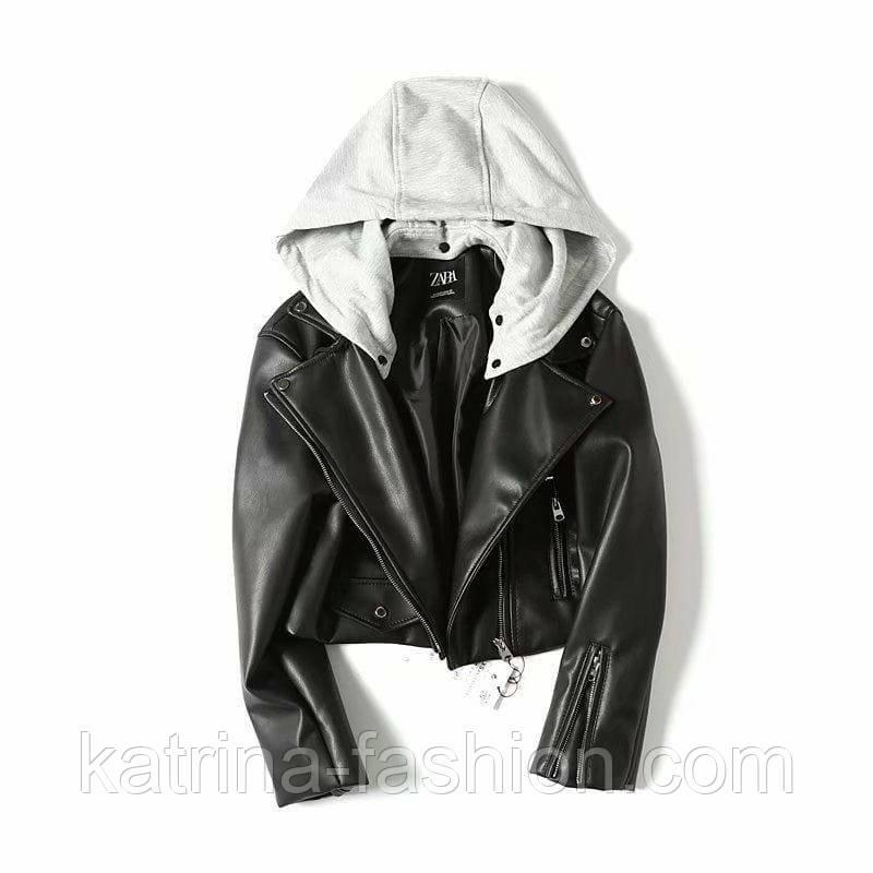 Женская стильная черная куртка косуха с трикотажным капюшоном Zara