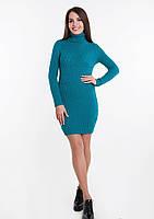 Женское зимнее короткое платье с высоким горлом Голубое