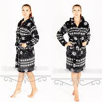 Тёплый женский халат из махры с капюшоном  с орнаментом снежинки  S M L XL, фото 3