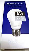 Светодиодная лампа 8 W  220V  Е27 GLOBAL LED теплый свет