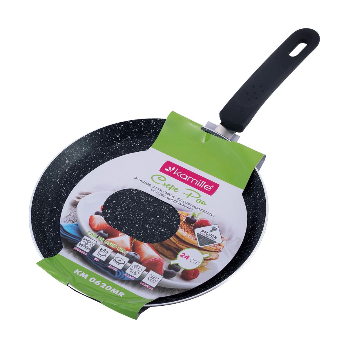 Сковорода блинная Kamille 24см с мраморным покрытием для индукции и газа KM-0620MR