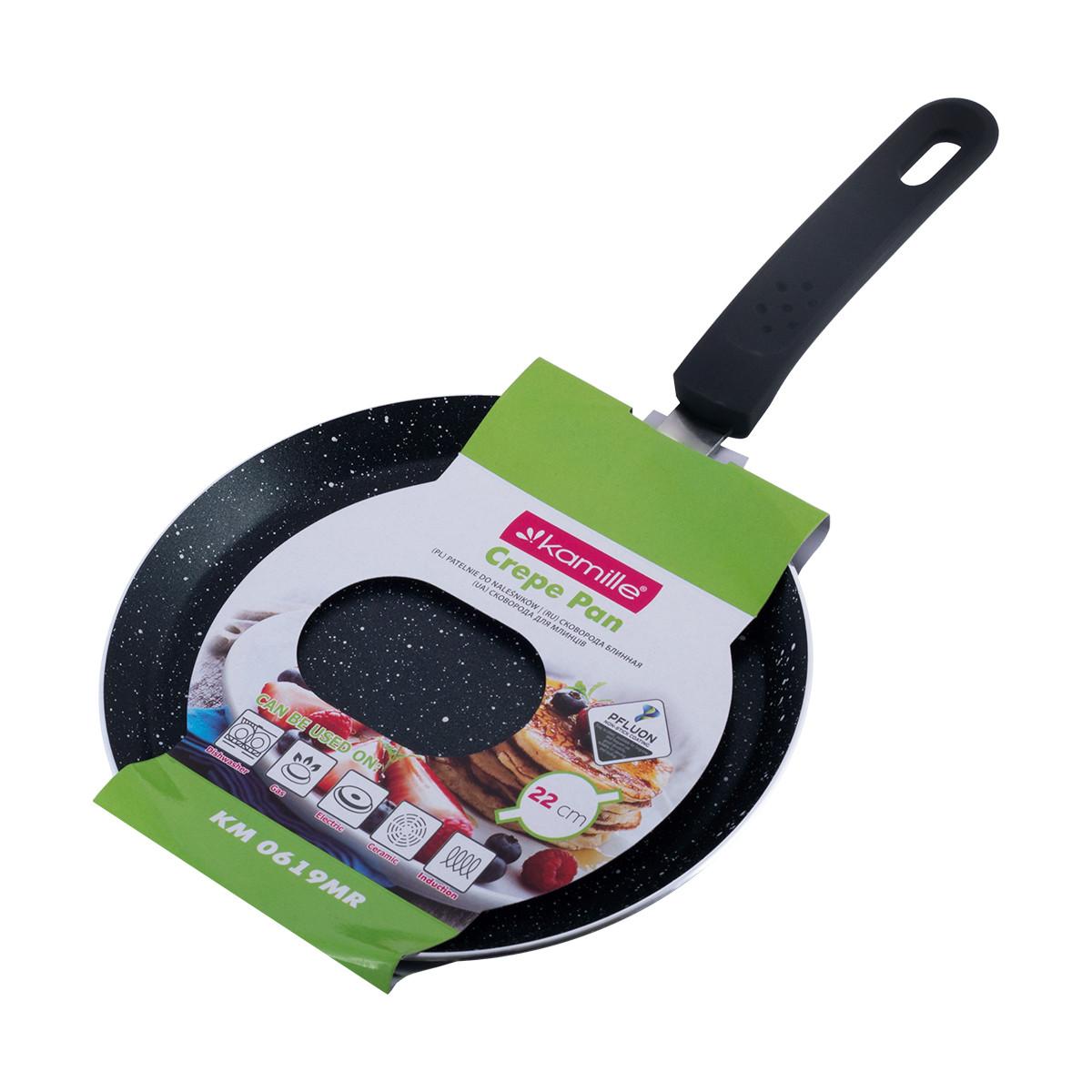Сковорода блинная Kamille 22см с мраморным покрытием для индукции и газа KM-0619MR