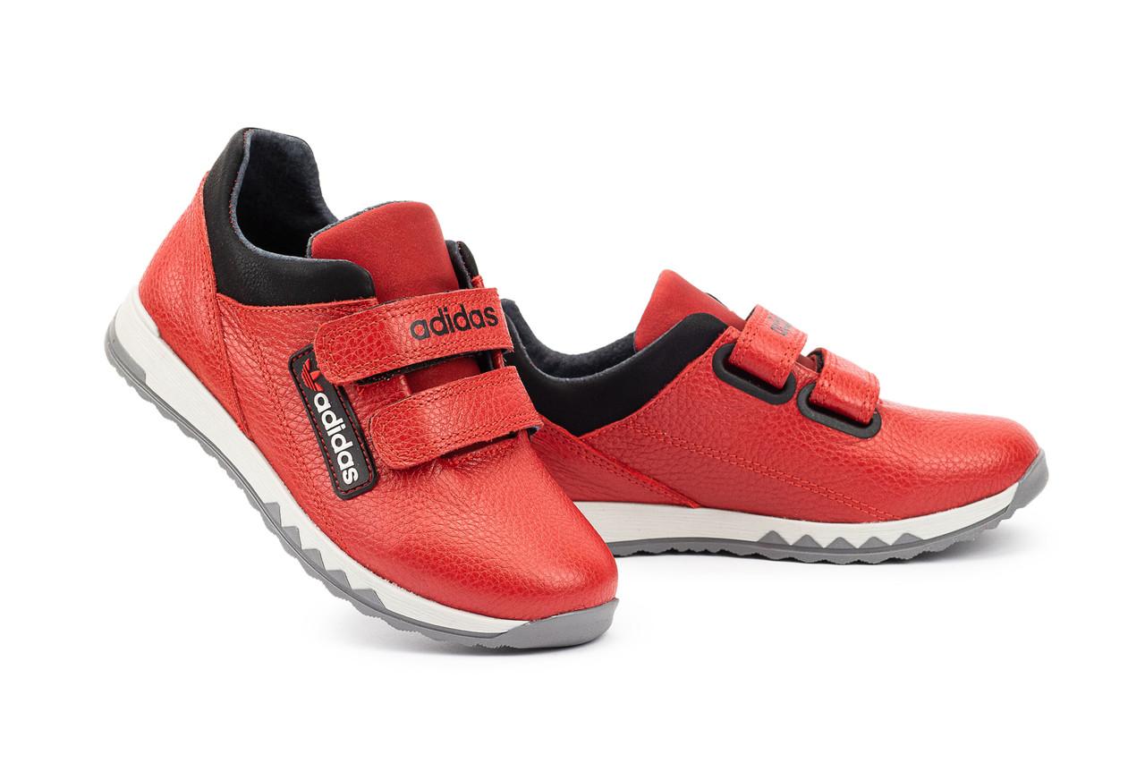 Детские кроссовки кожаные весна/осень красные-черные CrosSAV 39L