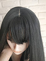Парик длинный с челкой черный ровный №1090, фото 3