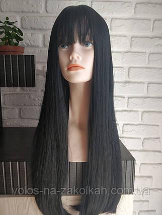 Парик длинный с челкой черный ровный №1090, фото 2