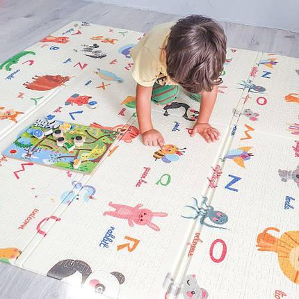 Дитячий розвиваючий двосторонній термо килимок №5, Алфавіт, розмір 180х150х1см, фото 2
