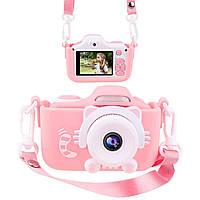 Детский фотоаппарат с экраном в чехле Smart Kids Camera.Цифровой фотоаппарат.Фотокамера для детей, розовый