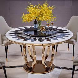Мраморный стол круглый с поворотной платформой. Модель RD-1032