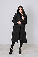 Стильное шерстяное пальто с капюшоном
