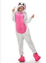 Кигуруми  Бело - розовый Заяц Для взрослых и детей
