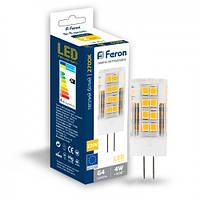Светодиодная лампа Feron LB-423 4W 230V G4 2700K, фото 1