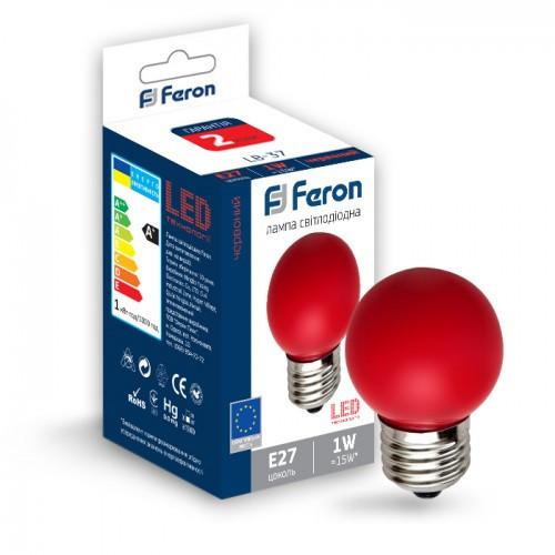 Світлодіодна лампа Feron LB-37 1W E27 червона