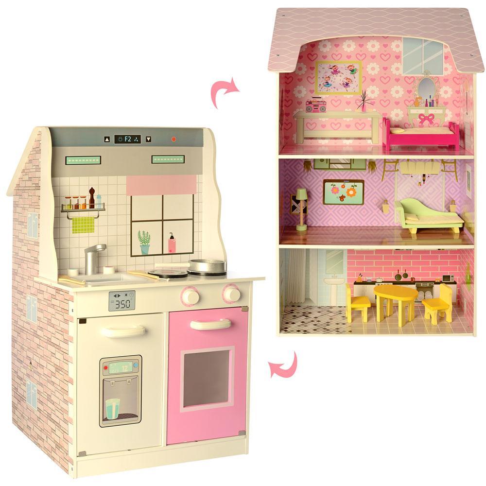 2 в 1 - Деревянный домик для кукол + Кухня (аналог KidKraft) арт. 2578
